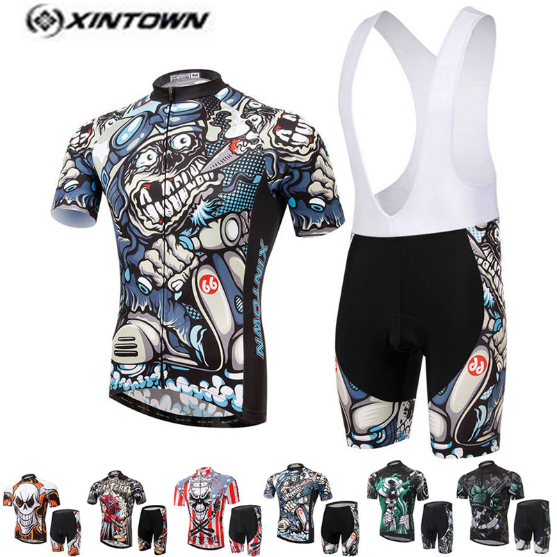 XINTOWN Pro Bike Jersey Bib Shorts Sets Men mtb Bicycle Clothing Suits Skull Gray Summer Male Ropa Ciclismo Cycling Shirts