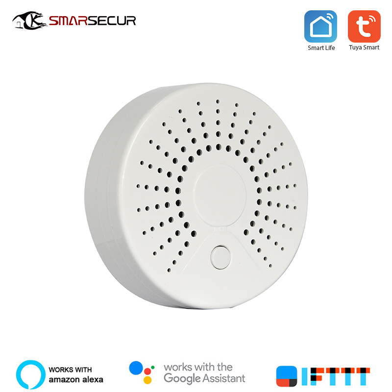 Wifi Smoke Detector Sensor  Fire Home Security System Smart Smoke Sensor Smart Life Tuya Works With Alexa Google Home IFTTT
