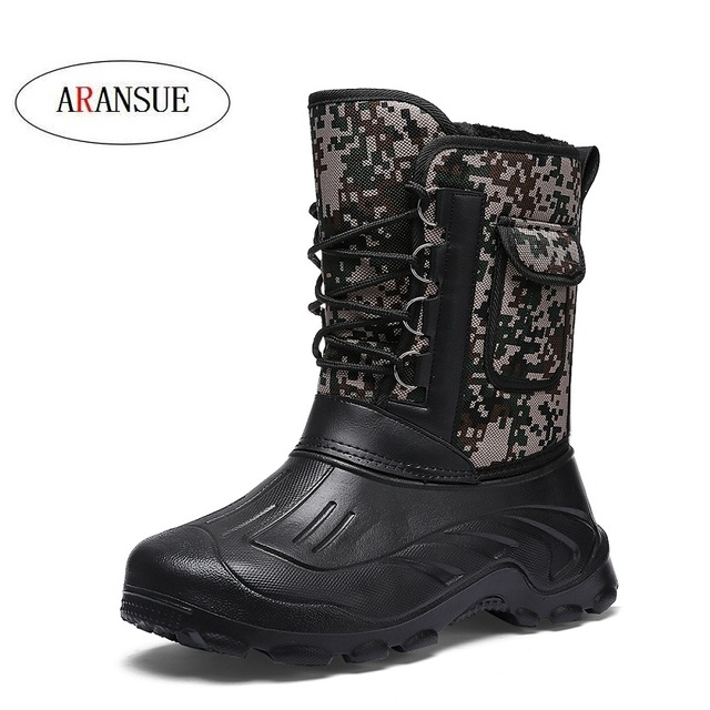 ARANSUE Plus size 40-46 Men Motorcycle boots plush male winter shoes mid-calf snow boots fashion High boot