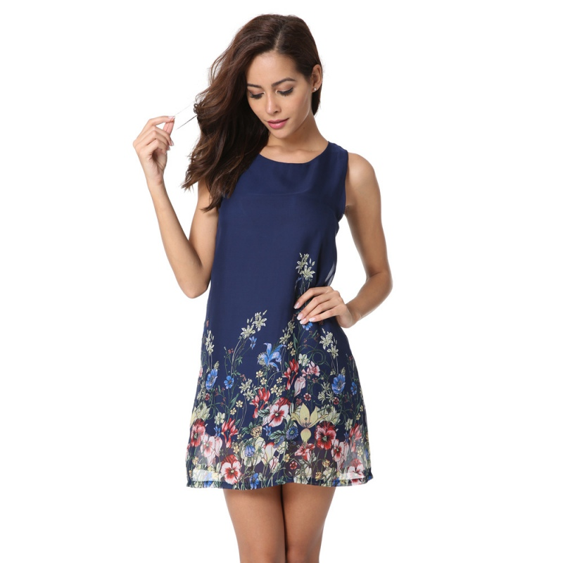 Casual Spring Boho Dresses For Women Multicolor Round Neck Sleeveless Floral Print A- line Chiffon Dress W6