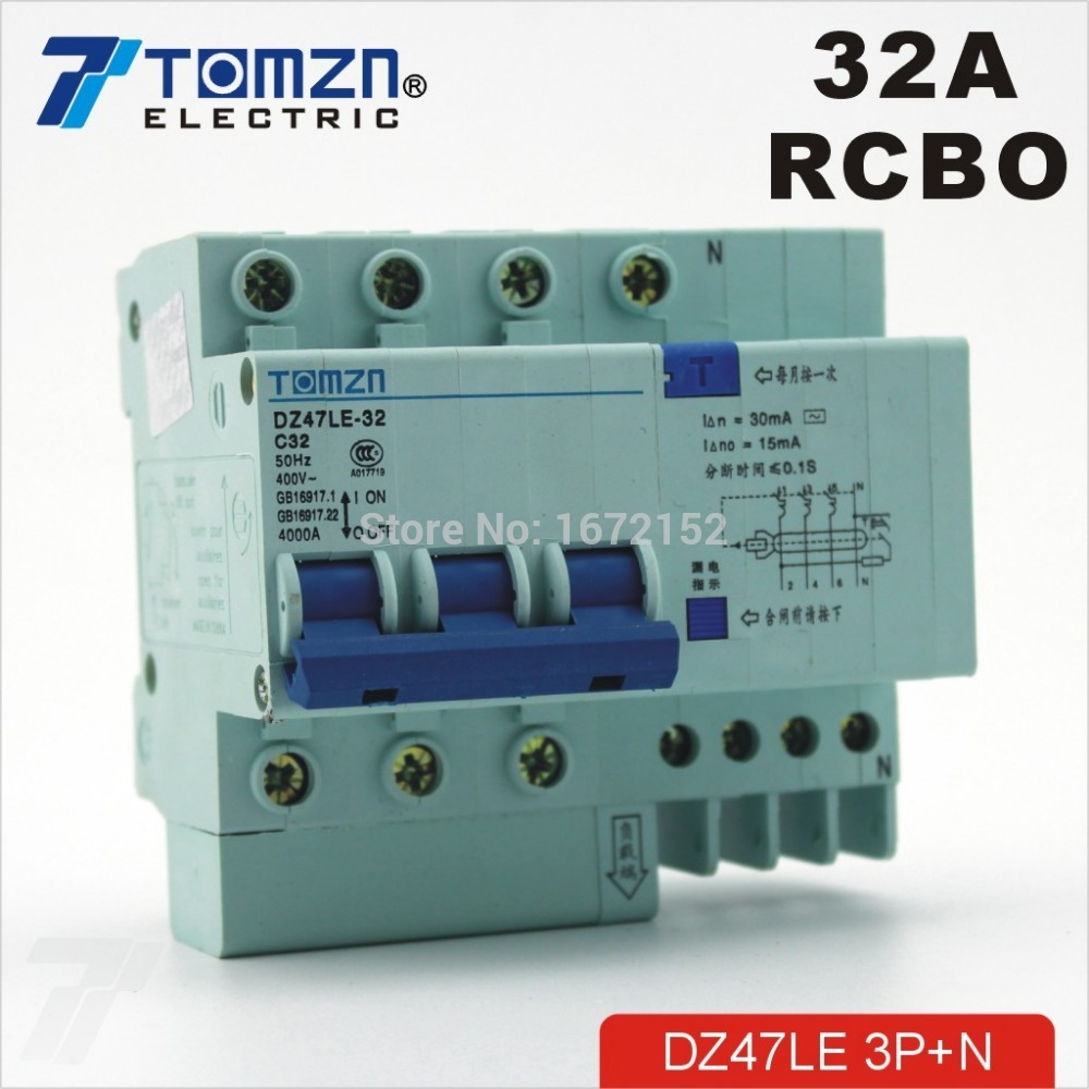 DZ47LE 3P+N 32A 400V~ 50HZ/60HZ Residual current Circuit breaker with over current and Leakage protection RCBO dz47le 3p n 63a 400v 50hz 60hz residual current circuit breaker with over current and leakage protection rcbo