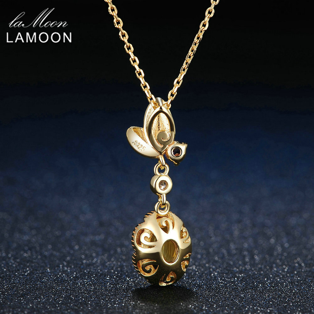 Image 3 - LAMOON 925 Sterling Silver Necklace Citrine Gemstone Pendant Necklace For Women 14K Gold Plated Leaf Shape Fine Jewelry  LMNI010-in Necklaces from Jewelry & Accessories