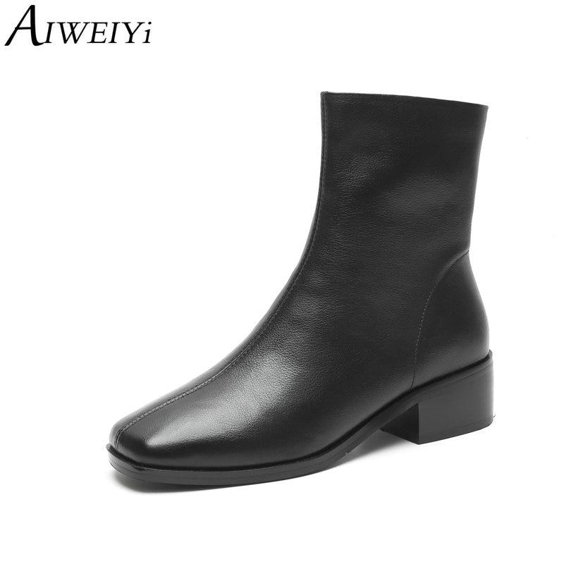 Las Black De Plataforma Botas Mujer Cuero Mujeres white Negro Genuino Aiweiyi Cuadrada Para Otoño Punta Zapatos Señoras Invierno EqgxpHwa