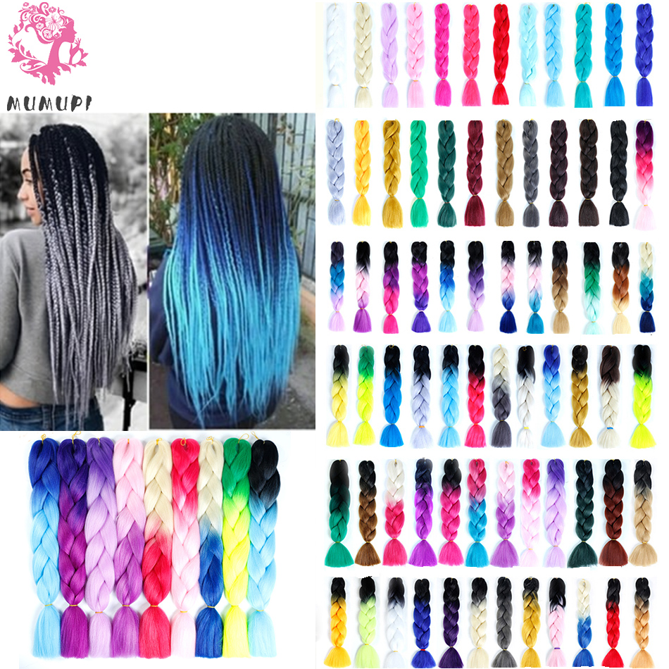 MUMUPI 24inch Ombre Braiding Three Tone Synthetic Hair Extensions Crochet Jumbo Twists Braids Xpressions   headwear