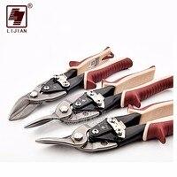 LIJIAN 10 12 Cutting Scissors Rubber Handle Left Straight Right Scissors For Metal Tin Snip Sheet