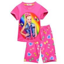 Купить с кэшбэком Summer new siwa trend-setting cotton short-sleeved round neck half pants home printing girls pajamas set two-piece 5-12Years