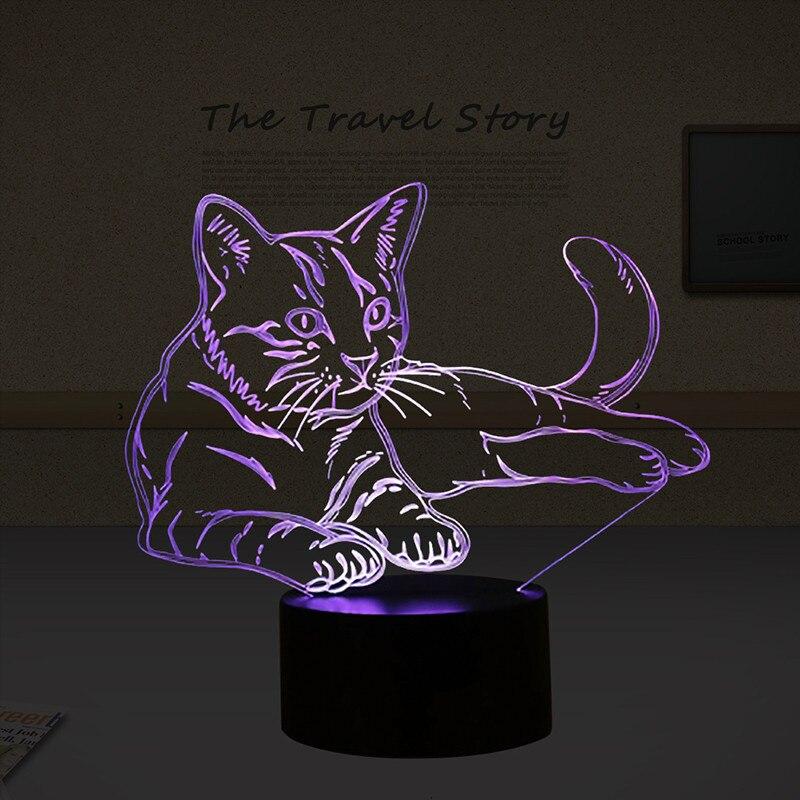 Luzes da Noite adorável 7 cores 3d gato Feature 3 : Led Desk Lamp