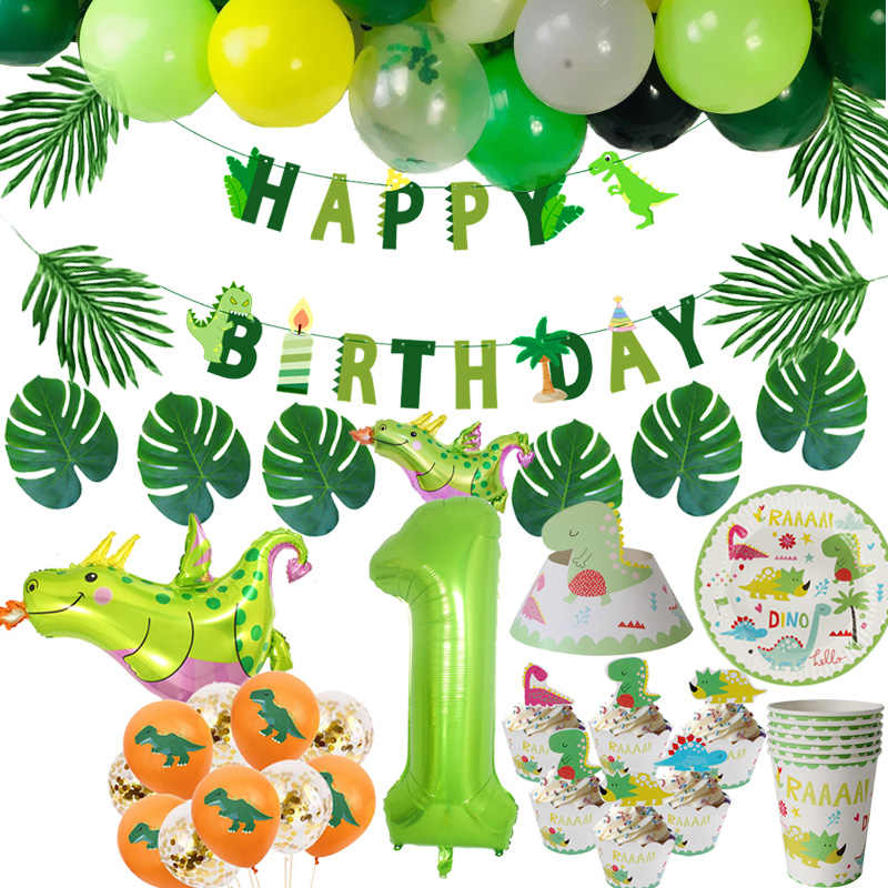 Cyuan Dino Geburtstag Folie Ballons Dinosaurier Party Supplies Nette Papier Banner Platte Tasse Junge Geburtstag Party Decor Kinder Party Kugeln
