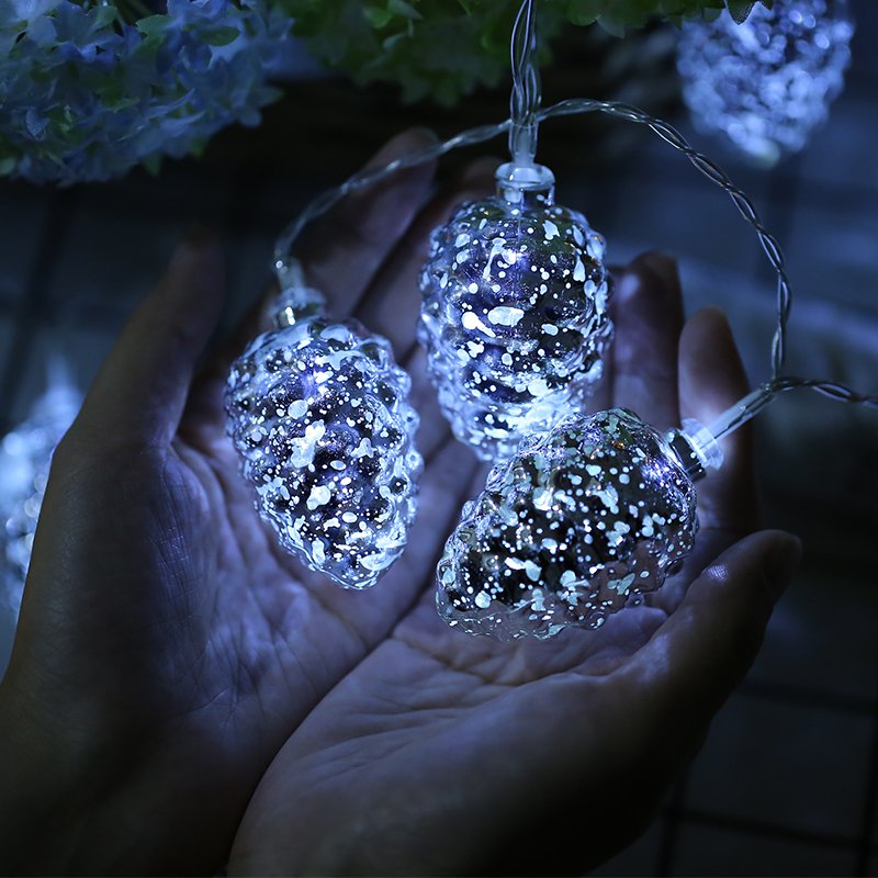 10Led Fairy Speck Silver Pine Nuts Battery Operated String Lights 1m LED Decoration For Christmas Garland On The Window New Year