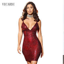 2017 summer Sequined dress deep v-neck backless dress for woman gold sequin party club cocktail nightclub short dresses hot