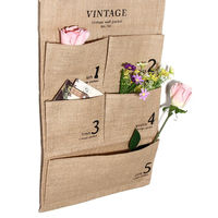 New Practical5 Pockets Jute Naturally Letters Wall Hanging Storage Bags Organizer Cosmetic Sundries Storage Bag Home
