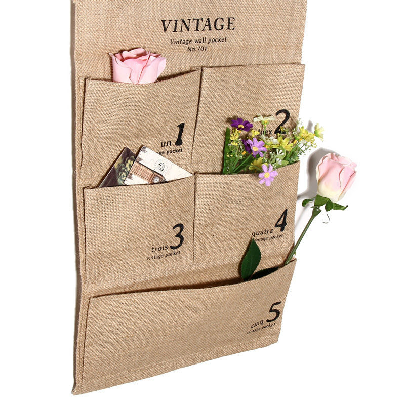 New Practical5 Pockets Jute Naturally Letters Wall Hanging Storage Bags organizer Cosmetic Sundries storage bag Home Decor E5M1 tote bags for work