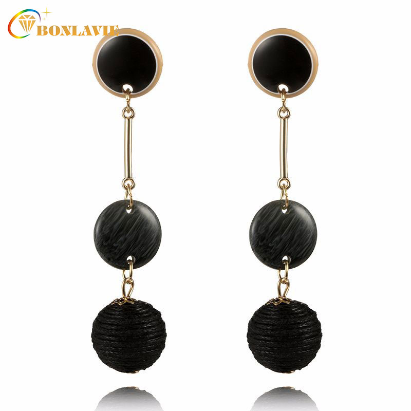 New Long Acrylic Dangle Earring Round Earring Brincos Round Pendant Drop Earrings Women Trendy Fashion Jewelery
