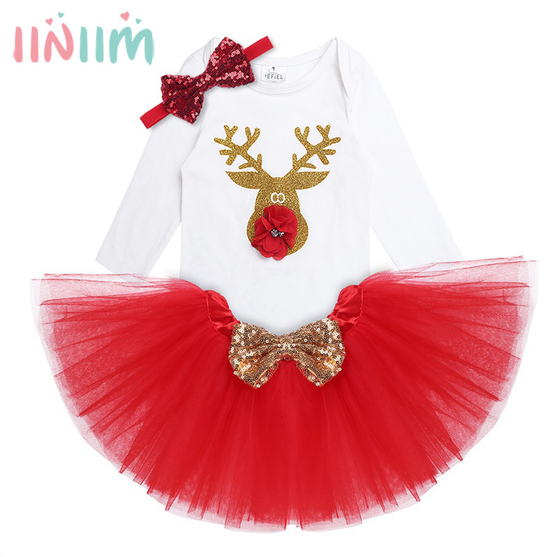 купить 3Pcs NewBorn Baby Clothes Autumn/Winter Summer Cotton Baby Rompers Kids Infantil Baby Girls Clothing Sets for Christmas Costumes недорого