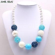 1b2ed2fb3a4f MHS sol más grueso azul cuentas de diamantes de imitación collar de moda  collar de cadena de joyería hecha a mano de los niños d.