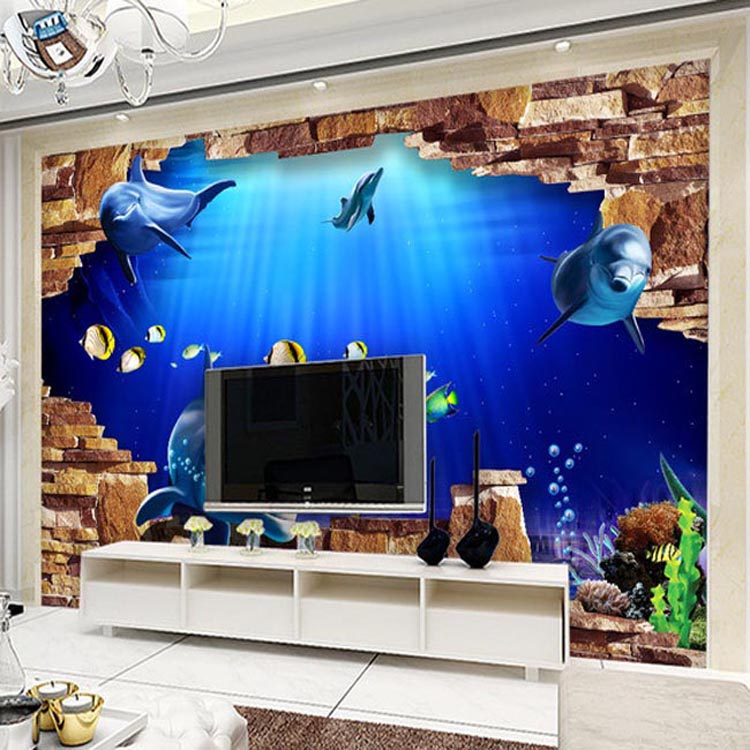 Custom photo wallpaper 3D modern Chinese sea floor large wall painting living room bedroom TV wall wallpaper mural beibehang dolphin ocean custom 3d wallpaper for bathroom mural 3d flooring wallpaper self adhesive floor painting wall stickers