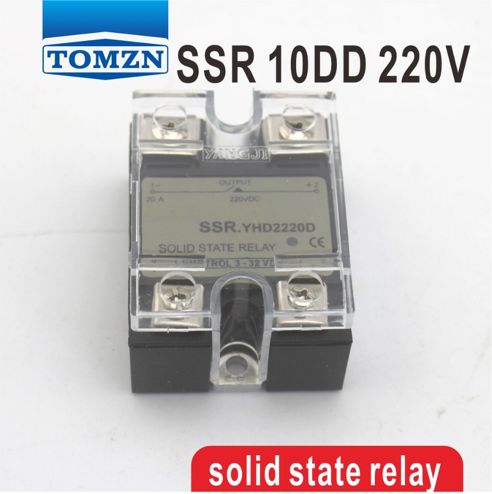 цена на 10DD SSR Control voltage 3~32VDC output 5~220VDC DC single phase DC solid state relay