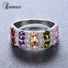 Bamos Female Mystery Rainbow Ring Bohemian 925 Sterling Silv