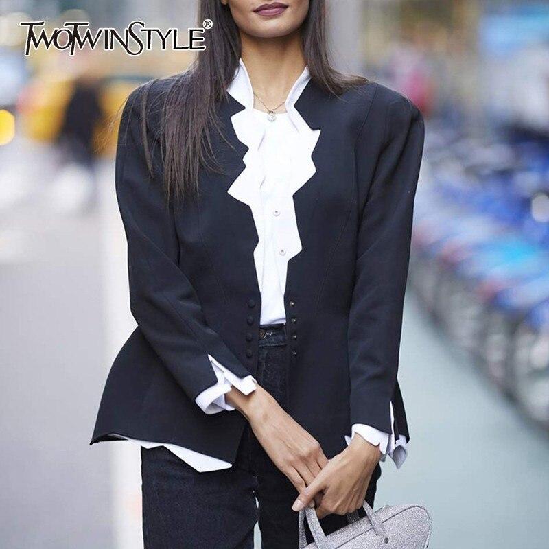 Kadın Giyim'ten Blazerler'de TWOTWINSTYLE OL Blazer Kadın Çentikli Yaka Uzun Kollu Ruffles Patchwork Hit Renk Ince Giyim Kadın Moda 2019 Yaz'da  Grup 1