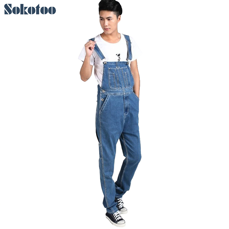 Sokotoo Men's plus size denim overalls Male casual large size jumpsuits Fashion loose blue denim cargo bib pants Free shipping fashion casual loose denim overalls men large size 46 cargo pants male jeans jumpsuits spring vintage sexy denim trousers 062909