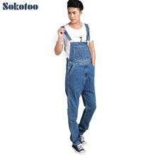 Sokotoo Männer plus größe denim overalls Männlichen casual große größe overalls Mode lose denim blue fracht trägerhose Freies verschiffen
