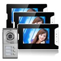 Бесплатная доставка по DHL вилла домофон 7 дюймов цветной цифровой экран 3 мониторы Мульти Жилого здания Видео-домофон