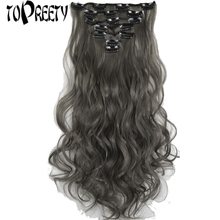TOPREETY Heat Resistant Synthetic Hair 100gr 19 48cm Wavy 7pcs/set Clip in Extensions