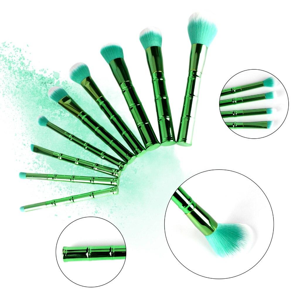 9pcs bamboo-shaped green makeup brush Pro Makeup Brushes Set SCC Cosmetic Foundation Powder Blush apple shaped makeup brush cleaner 2pcs