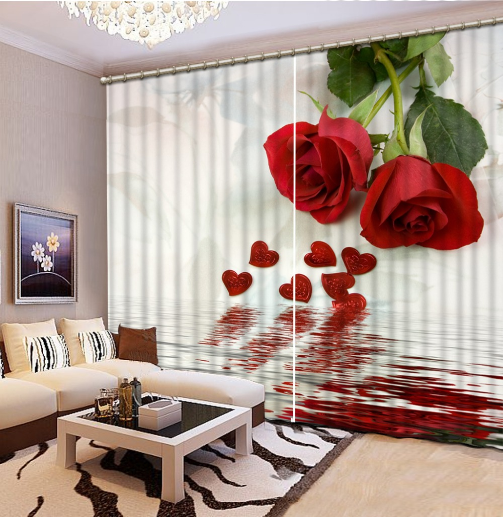 Home Decor Living Room Natural Art Red Rose Flower Custom Curtain Window Curtain  Living Room(