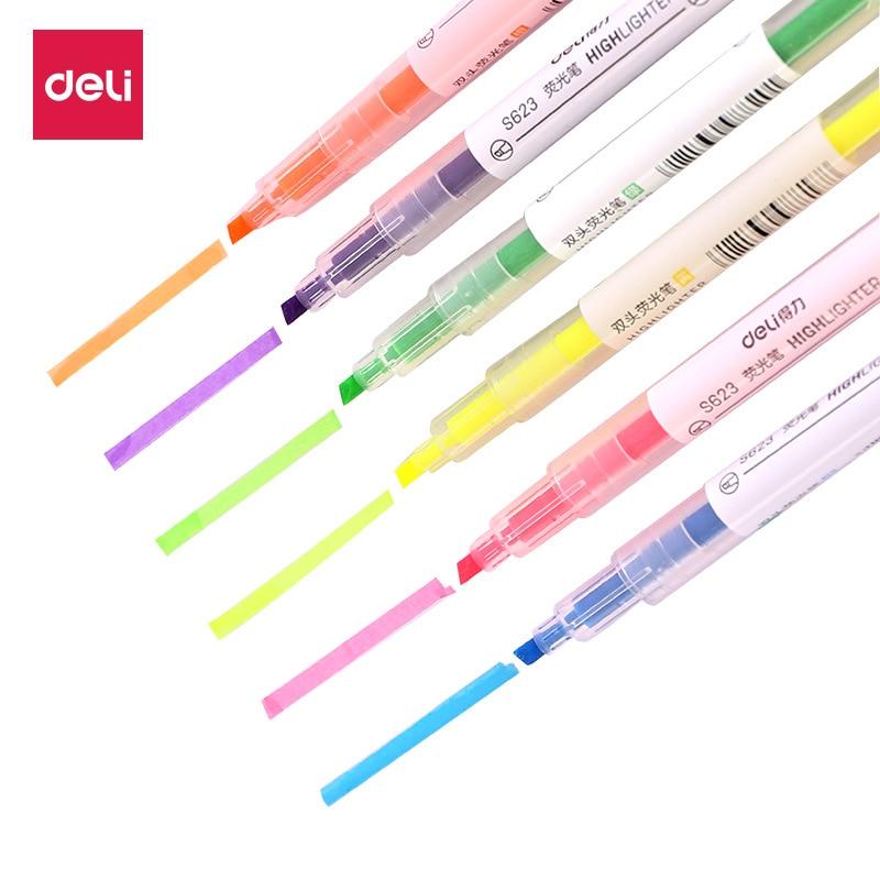 Dual Tip Highlighter Set  6 Pcs Gel Bible Highlighter Non-Bleed Assorted Color 6 Narrow Highlighter For Journaling