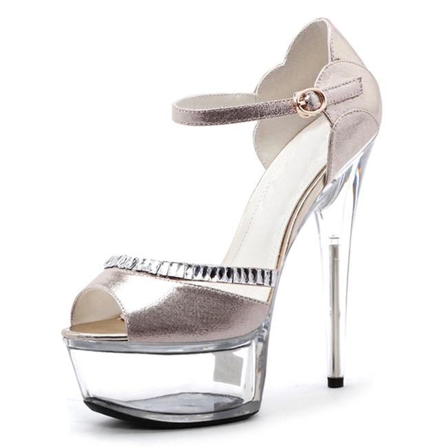 15 cm super high heels South Korean princess glitter bright eye crystal sandals fashion runway photo big yards of shoes 2017 han edition of the new fashion women s shoes big yards high heels crystal cool slippers 15cm