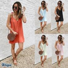 Summer Strap Dresses 2019 New Women Solid  Casual Sleeveless V-Neck Short Loose