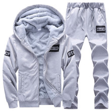 New Sporting Sets Fleece Thick Hooded Brand Clothing Casual Track Suit Men Jacket+Pant Warm Fur Inside Winter Sweatshirt