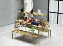 Golden display rack, running platform, trapezoidal landing shelf in Zhongdao, multi-storey shoe rack clothing store c