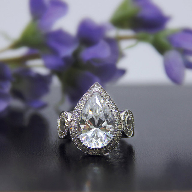 5.41CTW Pear Cut Simulated Diamond 925 Sterling Silver with Gold Wedding Engagement Ring