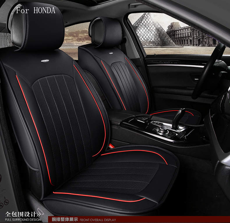 for honda civic accord honda hrv fit crv small hole ventilate wear resistance PU leather Front&Rear full car seat covers for honda civic accord crv fit new style brand luxury soft pu leather car seat cover front