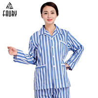 Hospital Gown Cotton Costume Patient Long Sleeve Suit Collar Tops Pants Clothes Sets Medical Clothing Accessories for Women