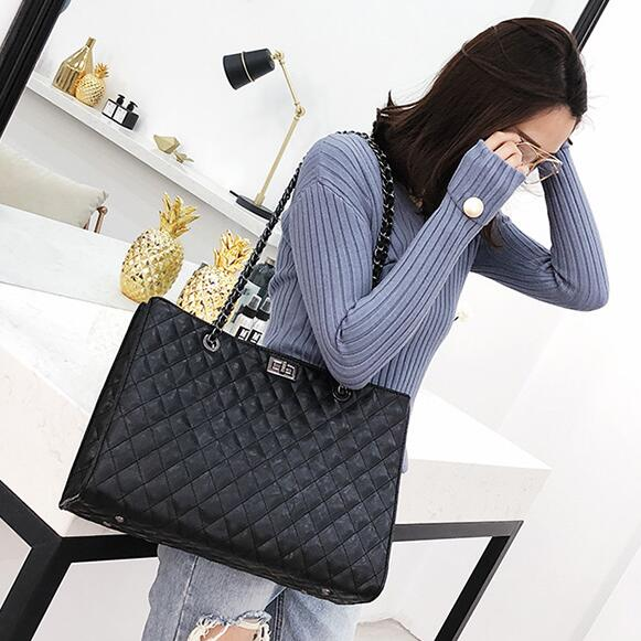 European Style Retro Handbags 2018 Fashion New High Quality Pu Leather Women's Designer Handbag Big Tote Bag Chain Shoulder Bag  by Remiel