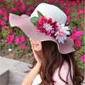 Female flowers large brimmed hat Straw hat Summer beach sun hat