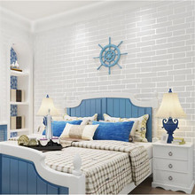 Beibehang Mediterranean Style Wallpaper Stereo Non Woven White Brick  Wallpaper Bedroom Living Room Full Wallpaper Papel De Pared