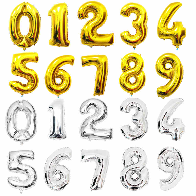 32 inches Guld Silver Antal Folie Ballonger Digit Helium Ballonger Födelsedag Dekorationer Bröllop Air Baloons Event Party Supplies