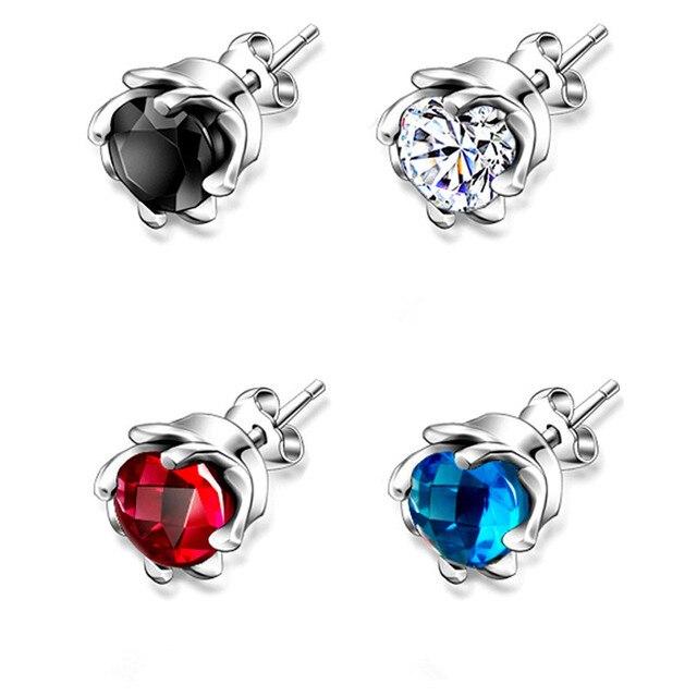 Lukeni Top Quality 925 Sterling Silver Earrings Men Jewelry Trendy Blue Black Zircon Crystal Rose Stud