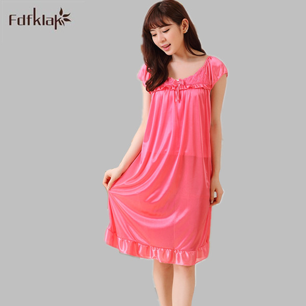 Fdfklak 2017 Summer New Sexy Women Sleepwear Dresses Sleeveless O-Neck   Nightgowns   Ladies Nightdress Casual   Sleepshirts   E0877