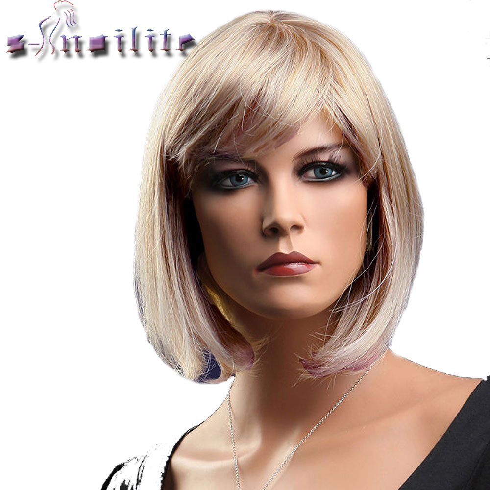 S-noilite Short  Red Bob Hair Wig Heat Resistant Synthetic Wigs Black Brown Women Natural Fake Hair Pieces