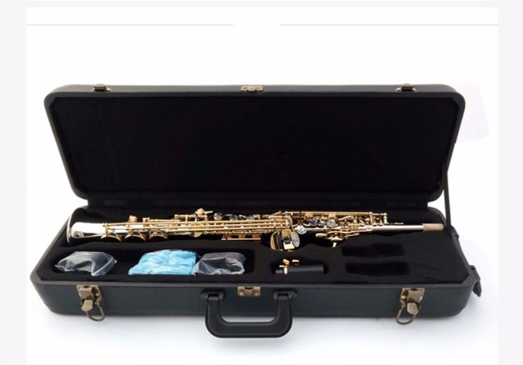 New Arrival 2018 France 54 R Soprano Saxophone High Quality Silver plated shell keys Straight B flat Sax Musical Free Shipping sax instruments 2018 new free shipping one piece tube high pitch soprano saxophone copper bronze 54 professional b