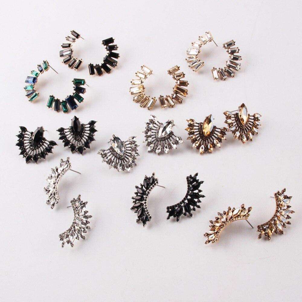 Best lady Boho Fashion Glass Stud Earrings For Women Vintage Colorful Geometric Statement Earrings Jewelry Wedding Gifts Mashup