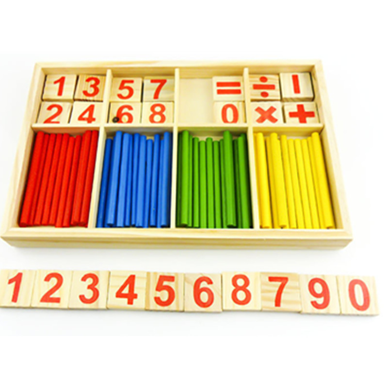 Hot Sale 1Set Digital Intelligence Great Toy Montessori Math Wooden Material Color font b Calculation b