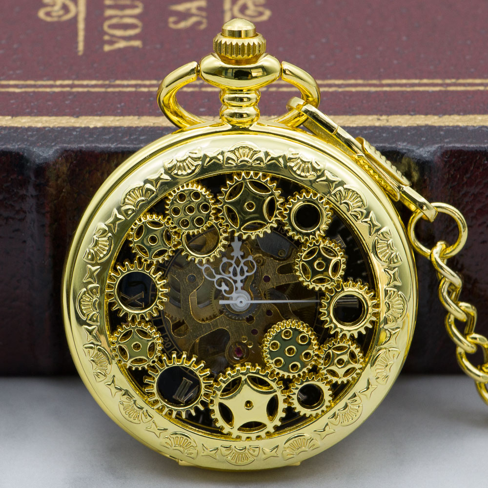 Fashion Steampunk Hollow Gear Mechanical Skeleton Pocket Watch Hand Winding Watch Men Women Chain Pendant Necklace