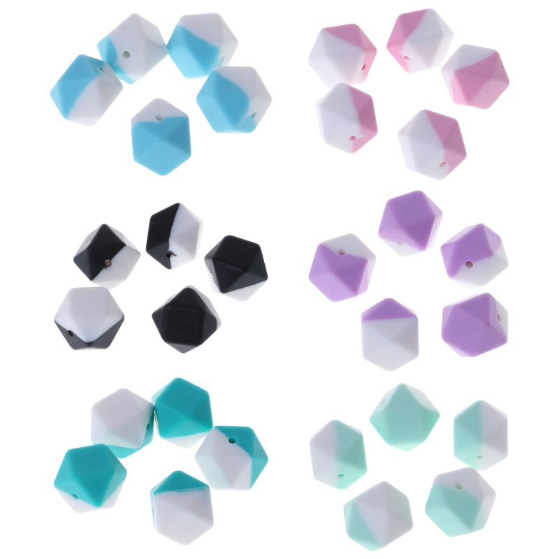 5 Pcs/Set Silicone Beads Double Color Hexagonal DIY Jewelry Making Necklace Bracelet Pendant Baby Teether Teething Pacifier Baby