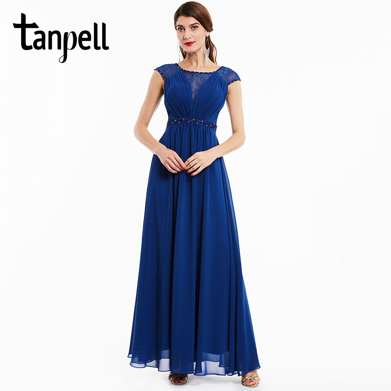 Tanpell Beaded Evening Dress Dark Royal Blue Cap Sleeves Floor Length A Line Dresses New Women Lace Scoop Neck Long Evening Gown